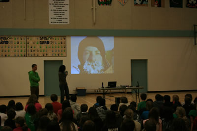 Julie and Colin presenting to students in Summerland