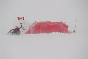 Hilleberg tent pitchd in Arctic conditions
