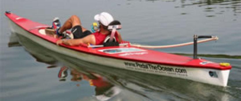Greg Kolodziejzyk speeding across the Atlantic Ocean in a pedal boat