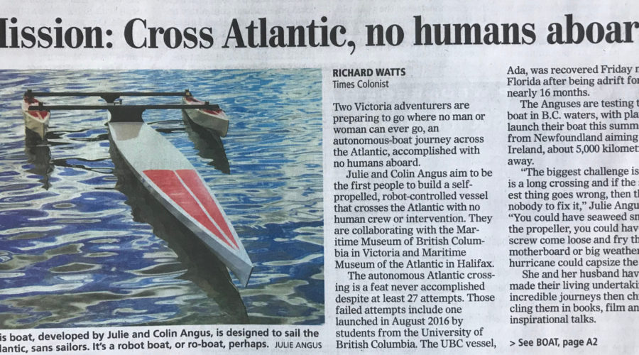 Times Colonist Interview on Autonomous Boat